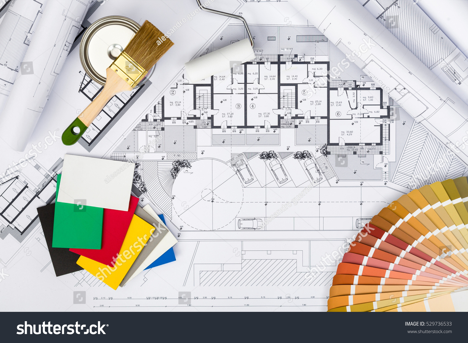 Top view construction plans whitewashing tools stock photo for Architectural engineering concepts