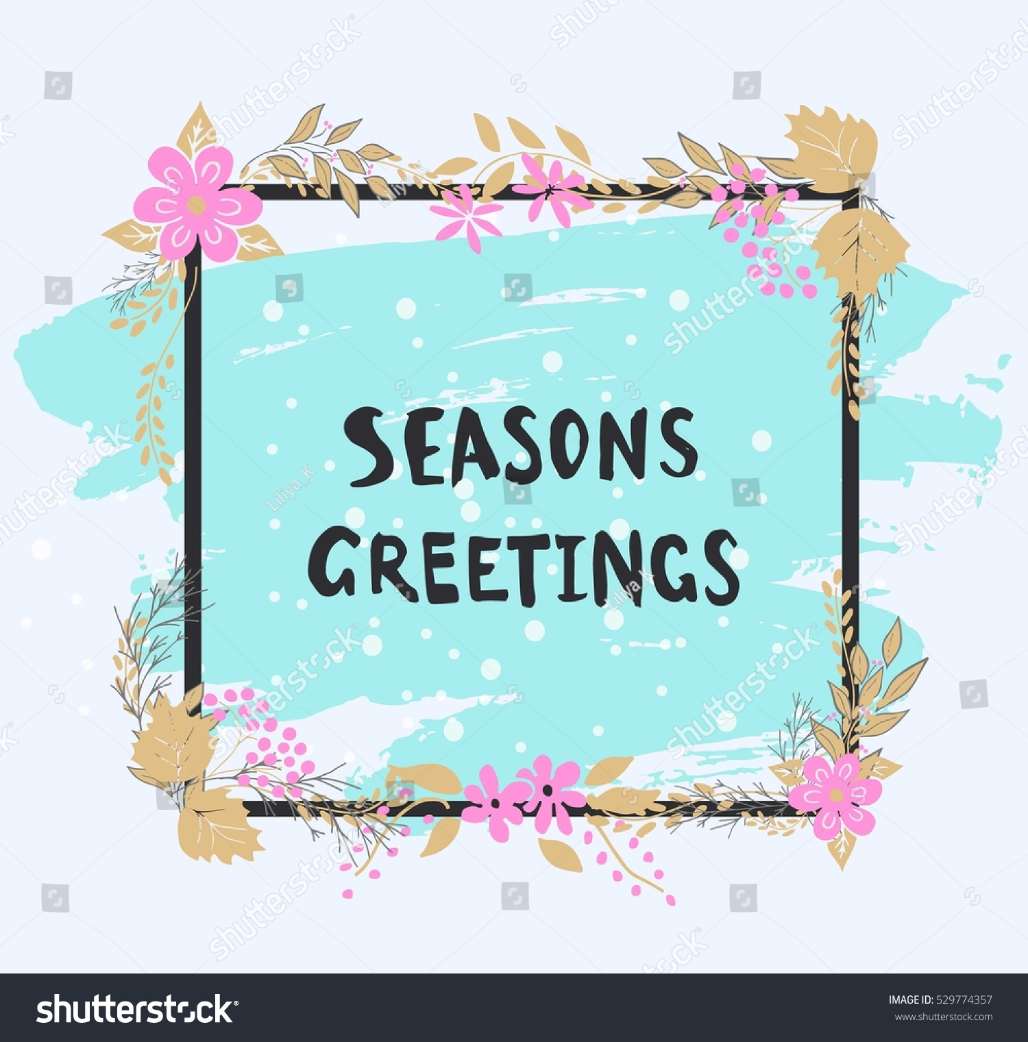 Seasons greetings graphics image collections greeting card examples handwritten seasons greetings text frame flowers stock vector handwritten seasons greetings text frame of flowers kristyandbryce kristyandbryce Images