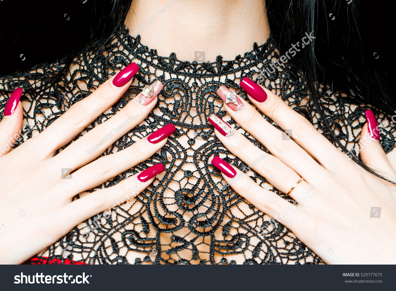 Female Hands Fingers Beautiful Fingernail Art Stock Photo (Royalty ...