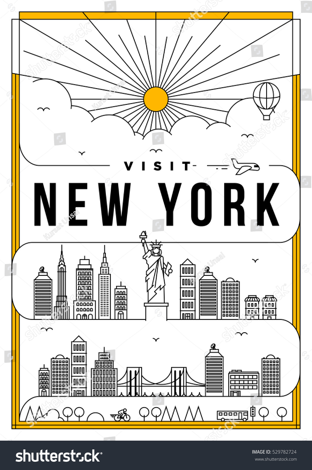 Poster design new york - Linear Travel New York Poster Design
