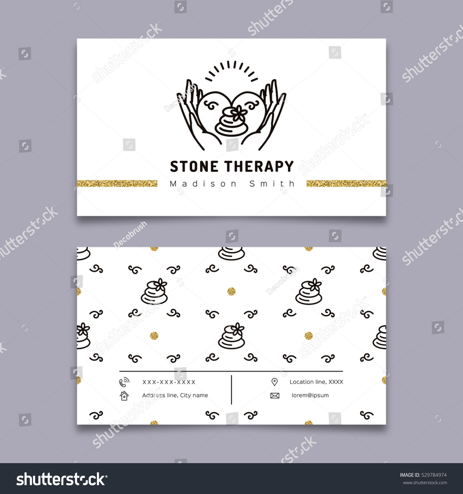 Vector Stone Therapy Business Card Template Stock Vector Royalty