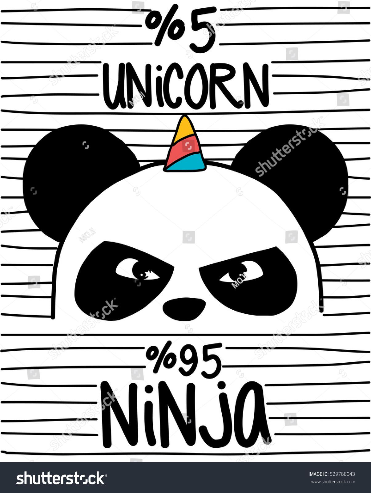 Cute Pandaninja Panda Unicorn Stock Vector 529788043 Shutterstock