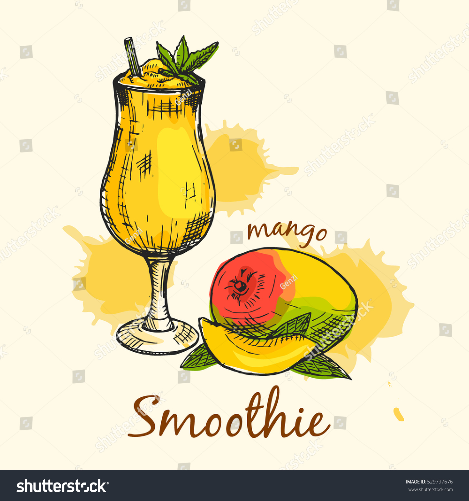 For restaurant pictures graphics illustrations clipart photos - Colorful Composition Of Mango Smoothie Creative Graphic Design Vector Illustration Used For Banner