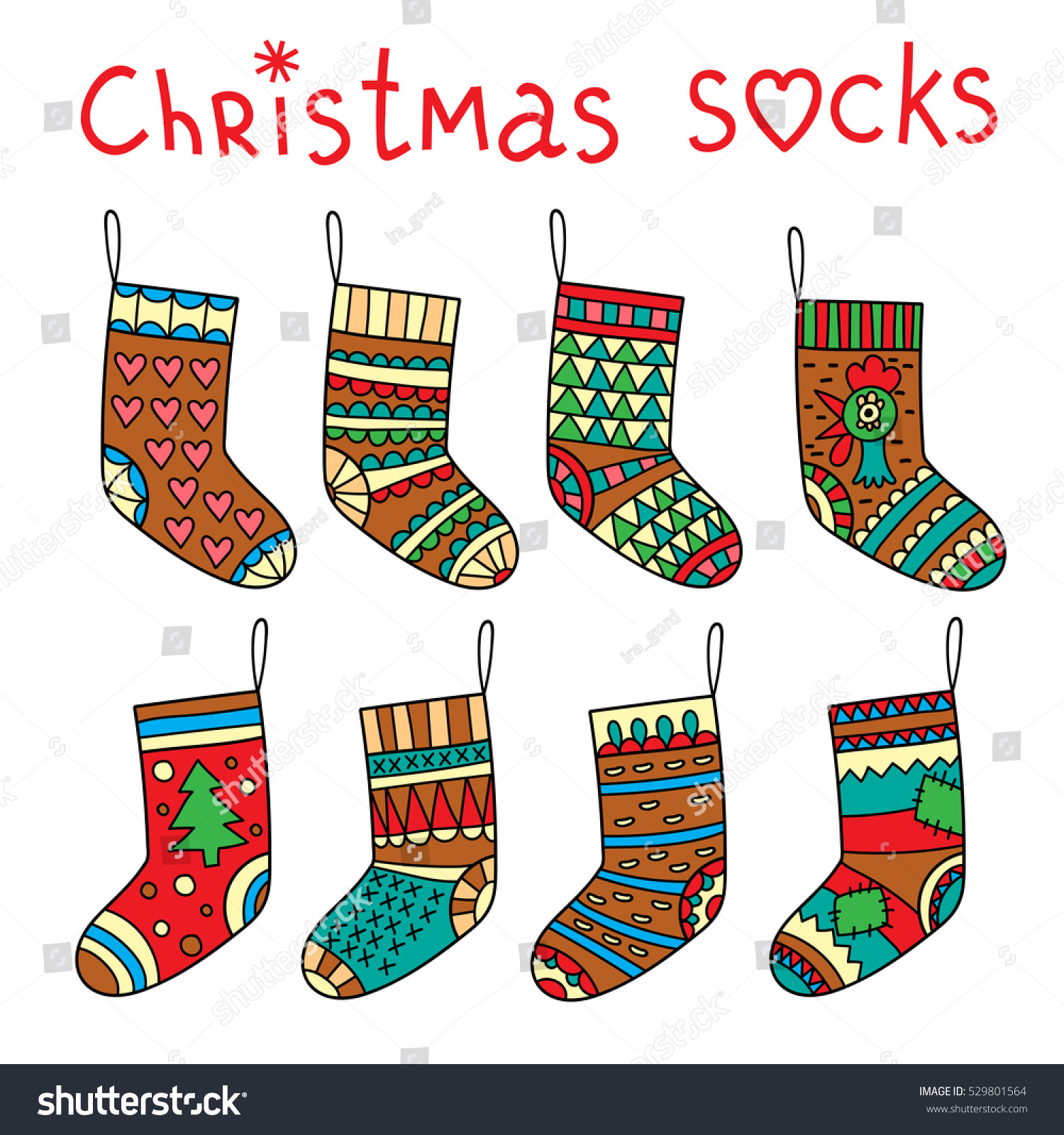 vector illustration color christmas socks stock vector 529801564