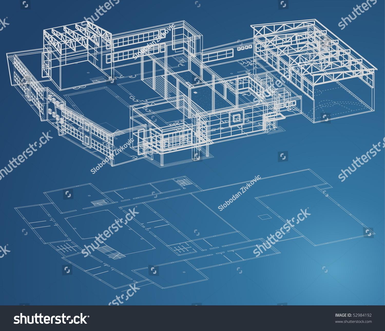 Stock Vector Blueprint Plan Of School Building In Third View And Basic 52984192 Blueprint Plan School