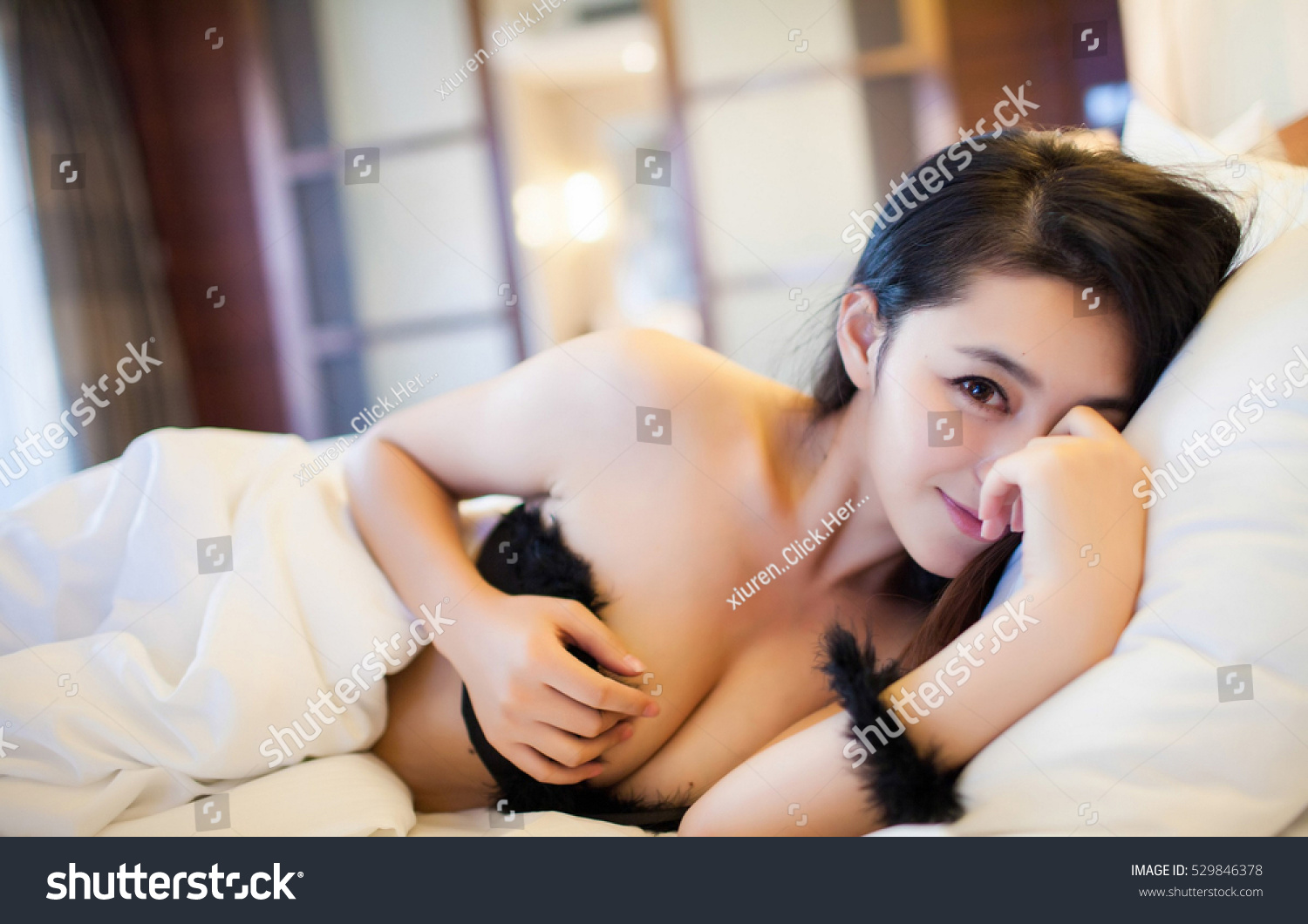 sexy asian girl wearing black bra stock photo (edit now) 529846378