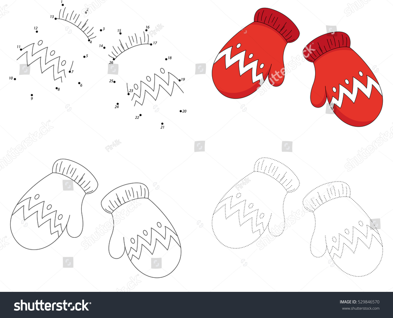 christmas knitted woolen mittens dot dot stock vector 529846570