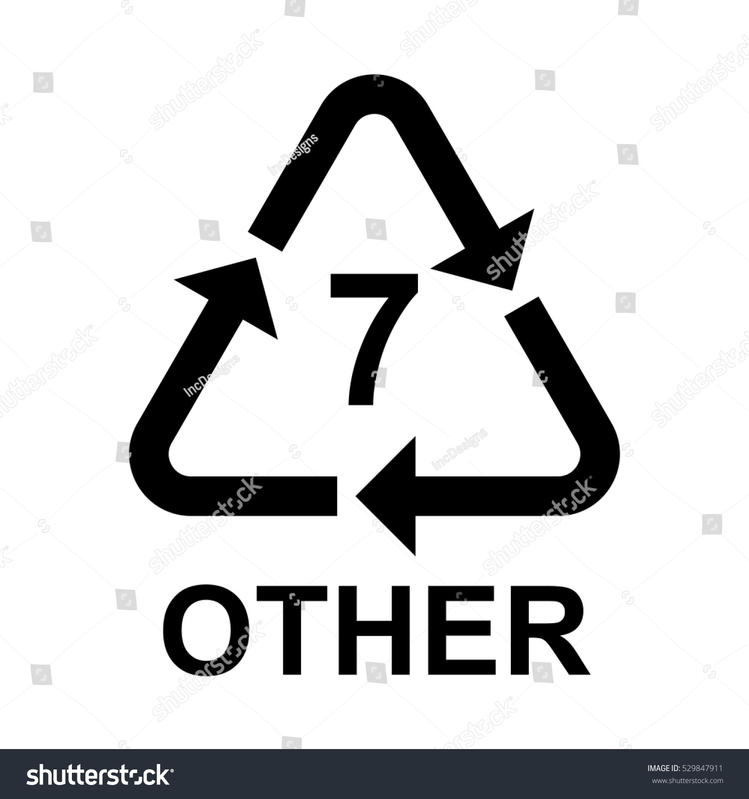 Plastic Recycling Symbol Other 7 Plastic Stock Vector Royalty Free