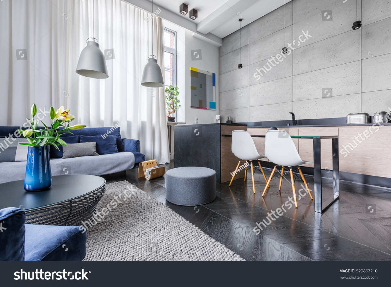 Modern Apartment Kitchen Living Room Combined Stock Photo 529867210 Shutterstock