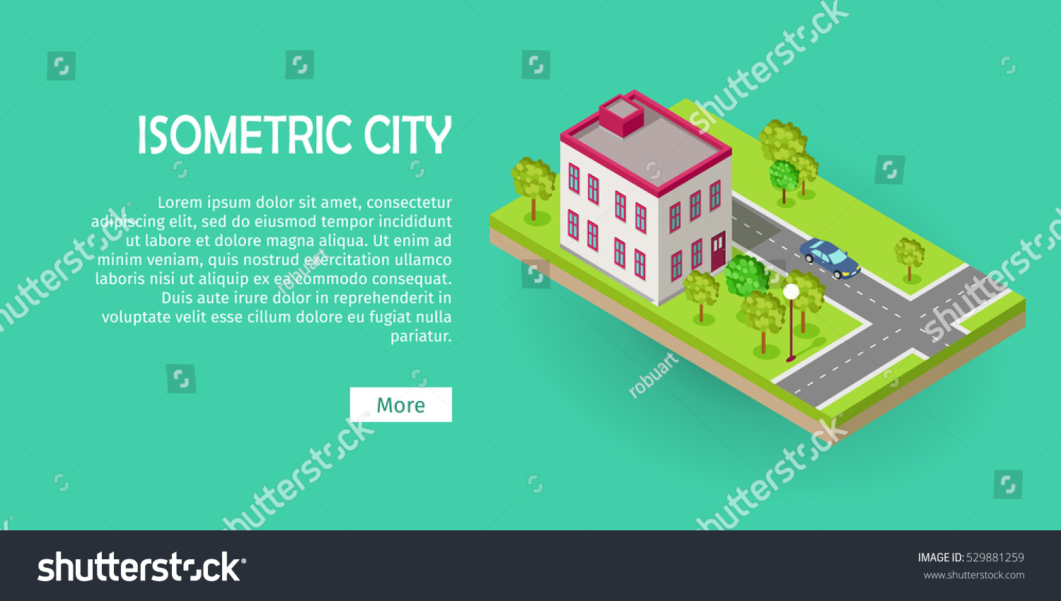 Isometric Icon Of Two Storey Office Center Near The Road Web Banner Building House Architecture