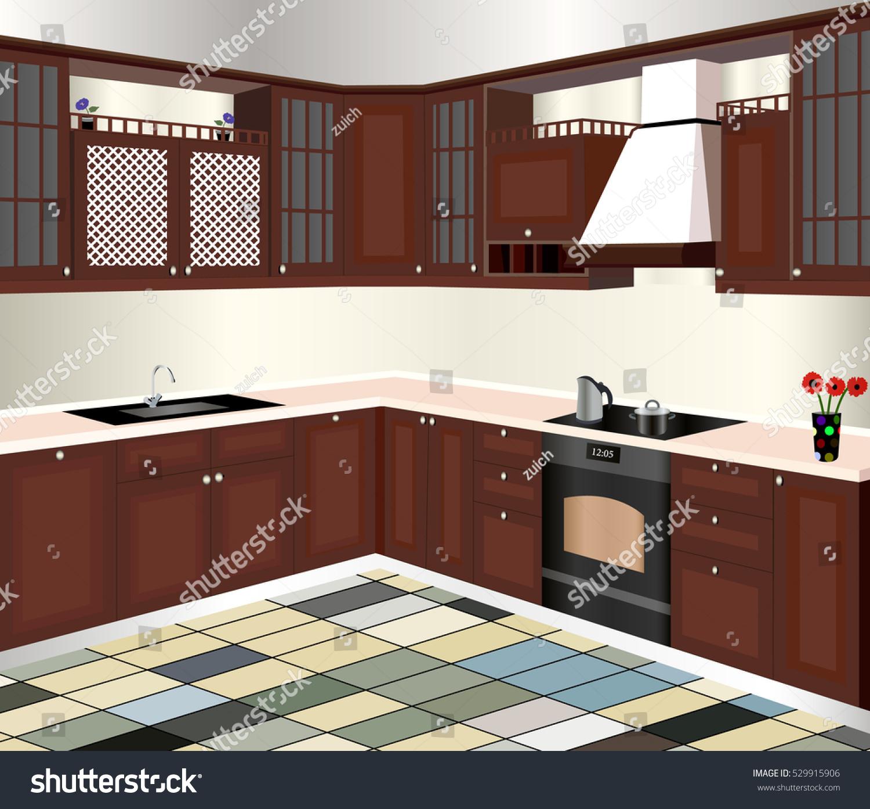 Kitchen designiconinteriror room symbol furniture vector for Kitchen design vector