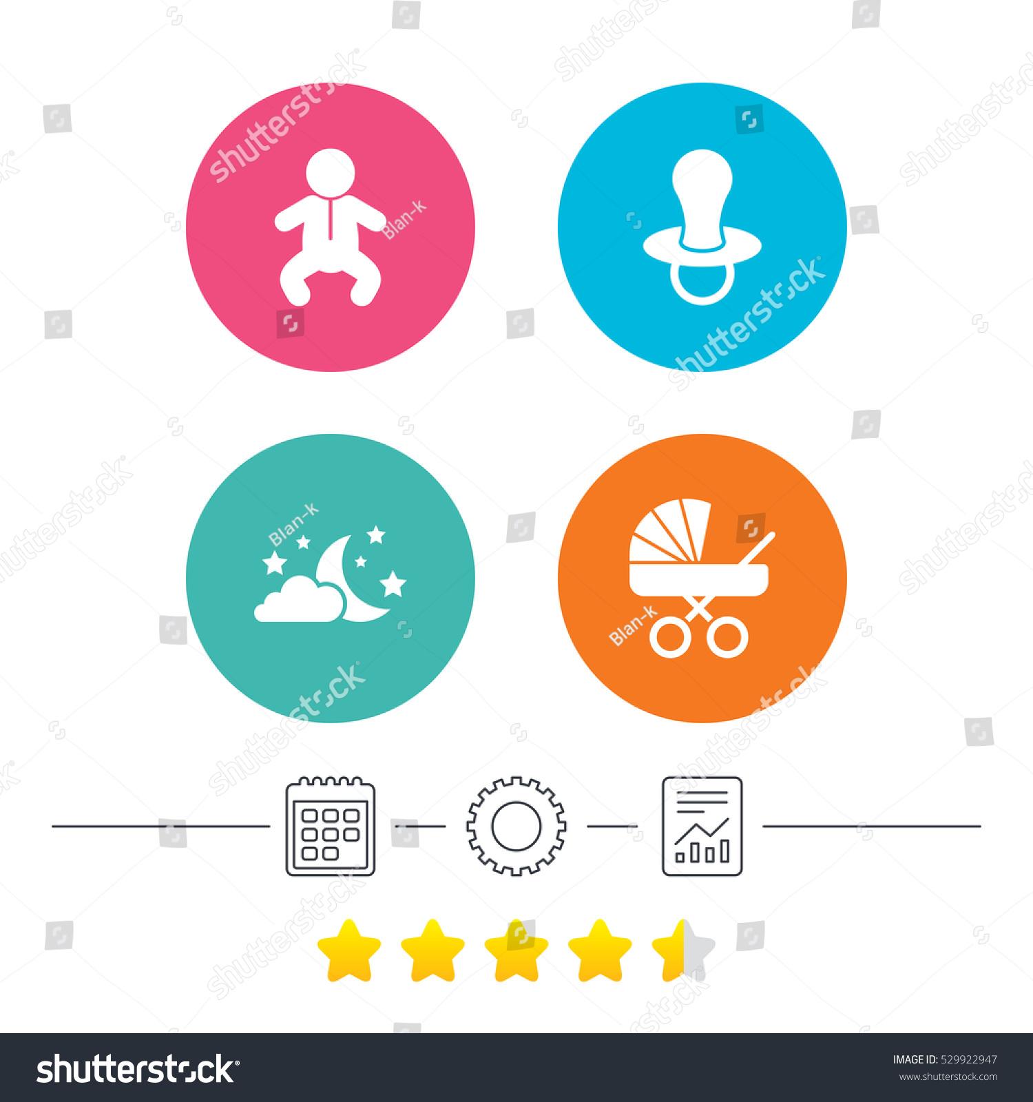 Moon Stars Symbol Baby Infants Icon Stock Vector Royalty Free