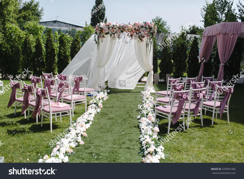 Simple Decor Wedding Many Pink White Stock Photo Edit Now 529941466