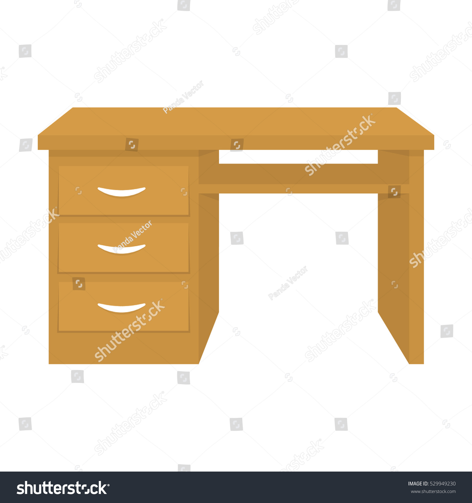 Office Desk Icon In Cartoon Style Isolated On White Background Furniture And Interior Symbol