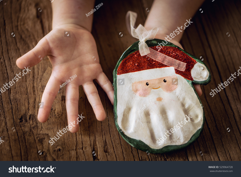 Christmas Keepsake Cute Handprint Santa Ornaments Stock Photo (Edit ...