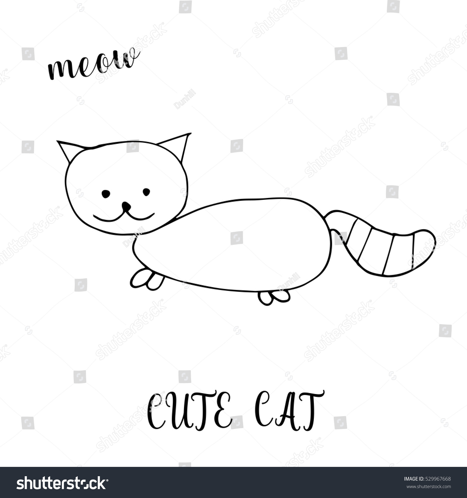 Children Drawing Cute Cat Template Painting Stock Vector Royalty