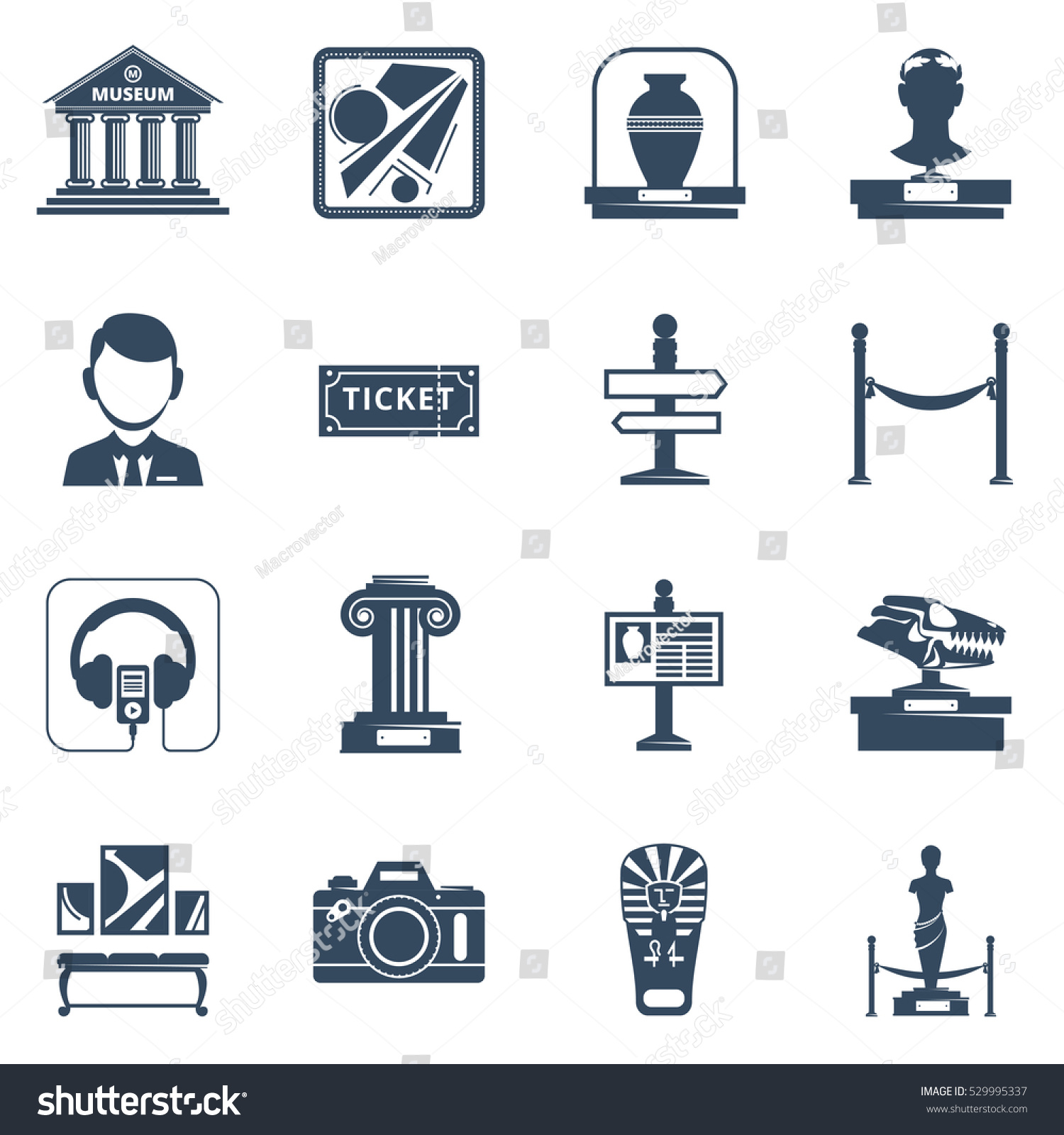 Museum flat icon set black silhouette stock illustration 529995337 museum flat icon set with black silhouette symbols of museum interior exhibit and special signs illustration biocorpaavc Choice Image