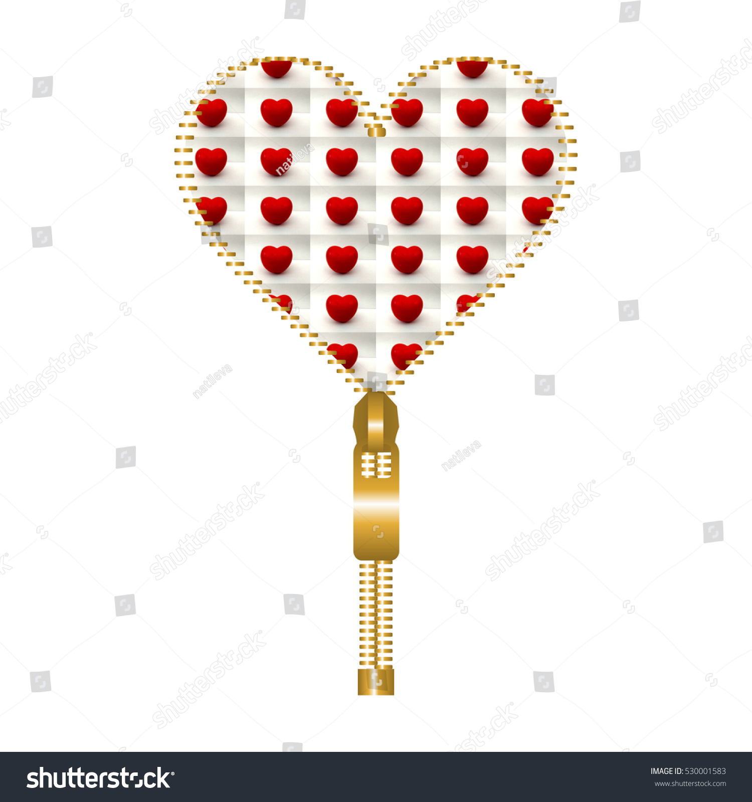 Heart Shape Made Golden Zip Filled Stock Illustration 530001583 ...
