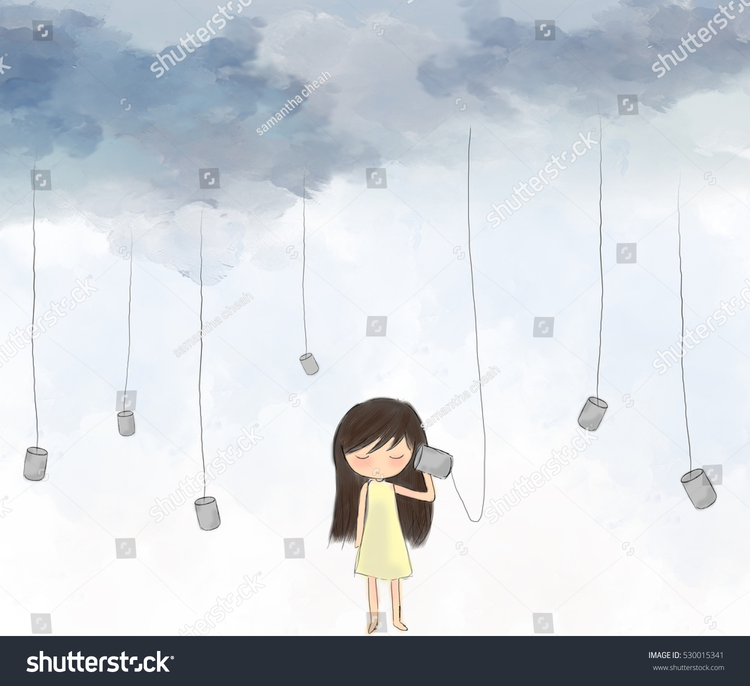 Illustration drawing of sad lonely girl standing listening to cup hanging with string from sky painting of water color graphic sky idea of art listening