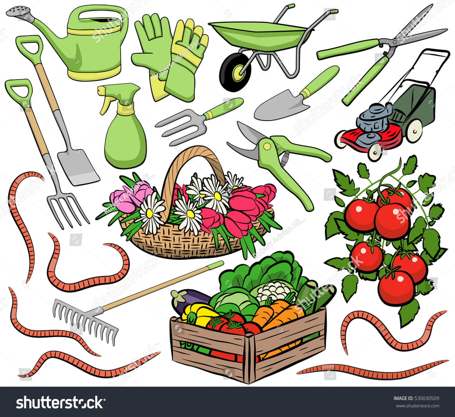 stock vector set of vector gardening clip art including tools produce and worms