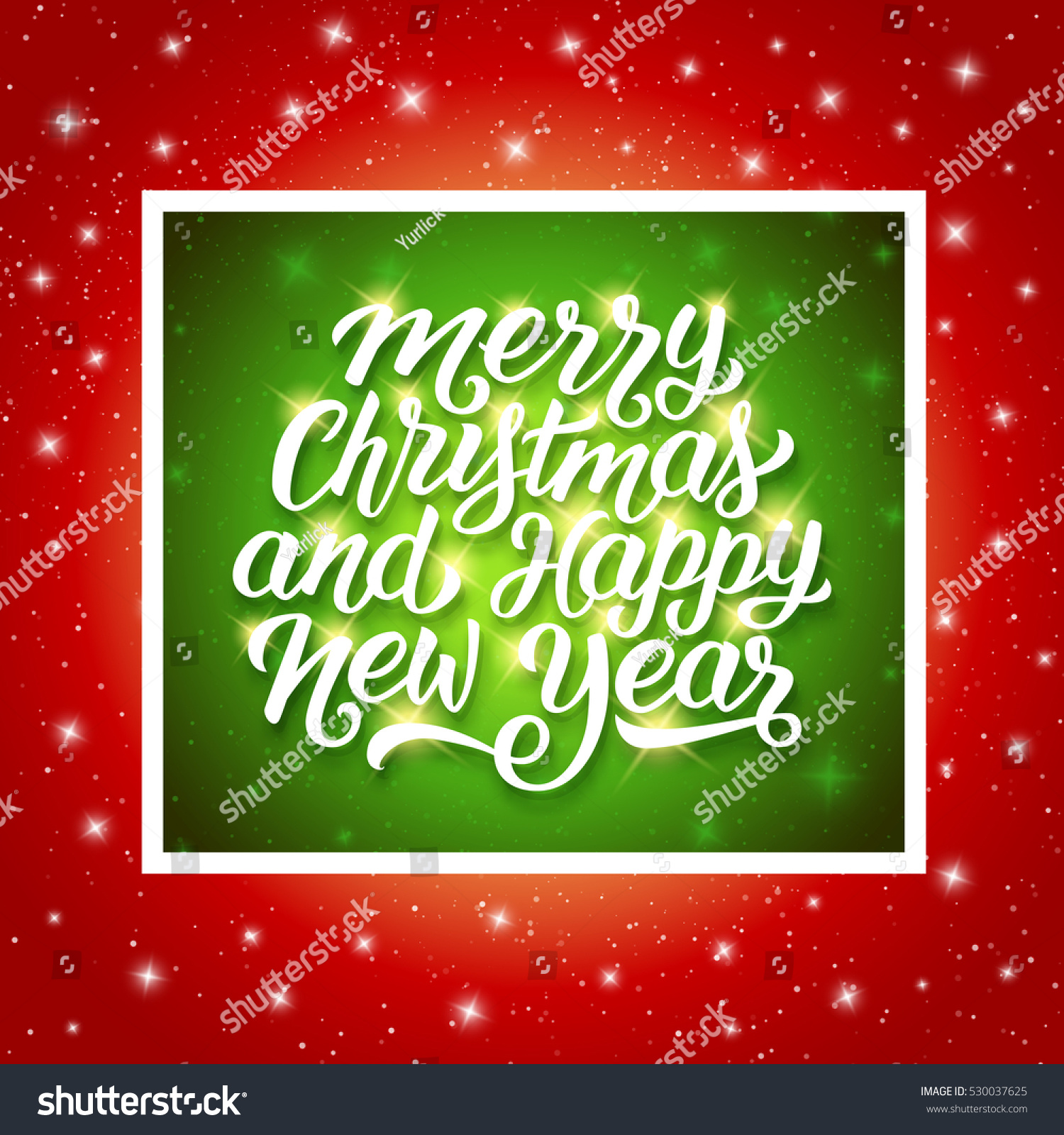 merry christmas and happy new year shiny calligraphic text in green frame above red background with