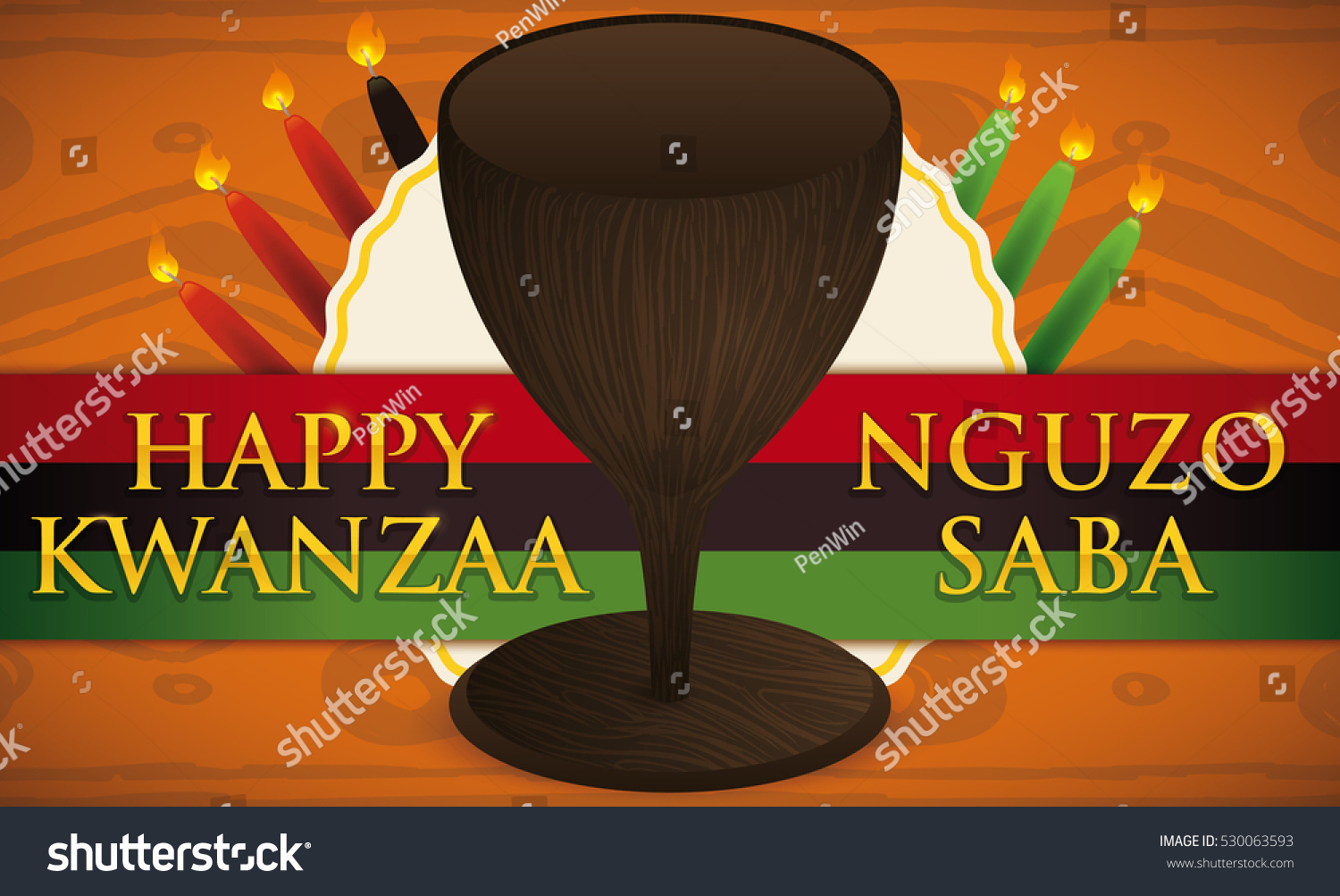 Banner Traditional Cup Candles Kwanzaa Celebration Stock Vector Hd