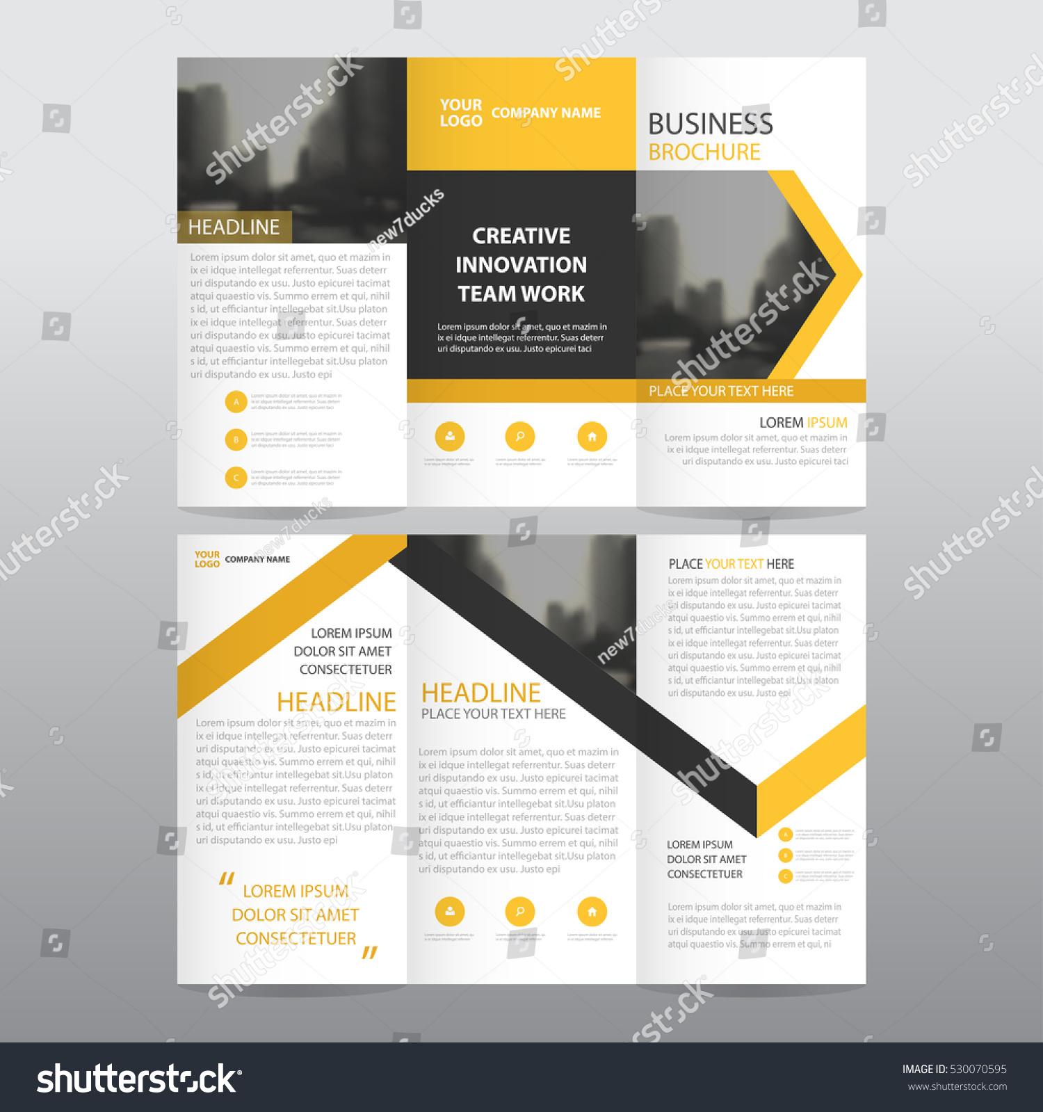 yellow arrow business tri fold leaflet のベクター画像素材