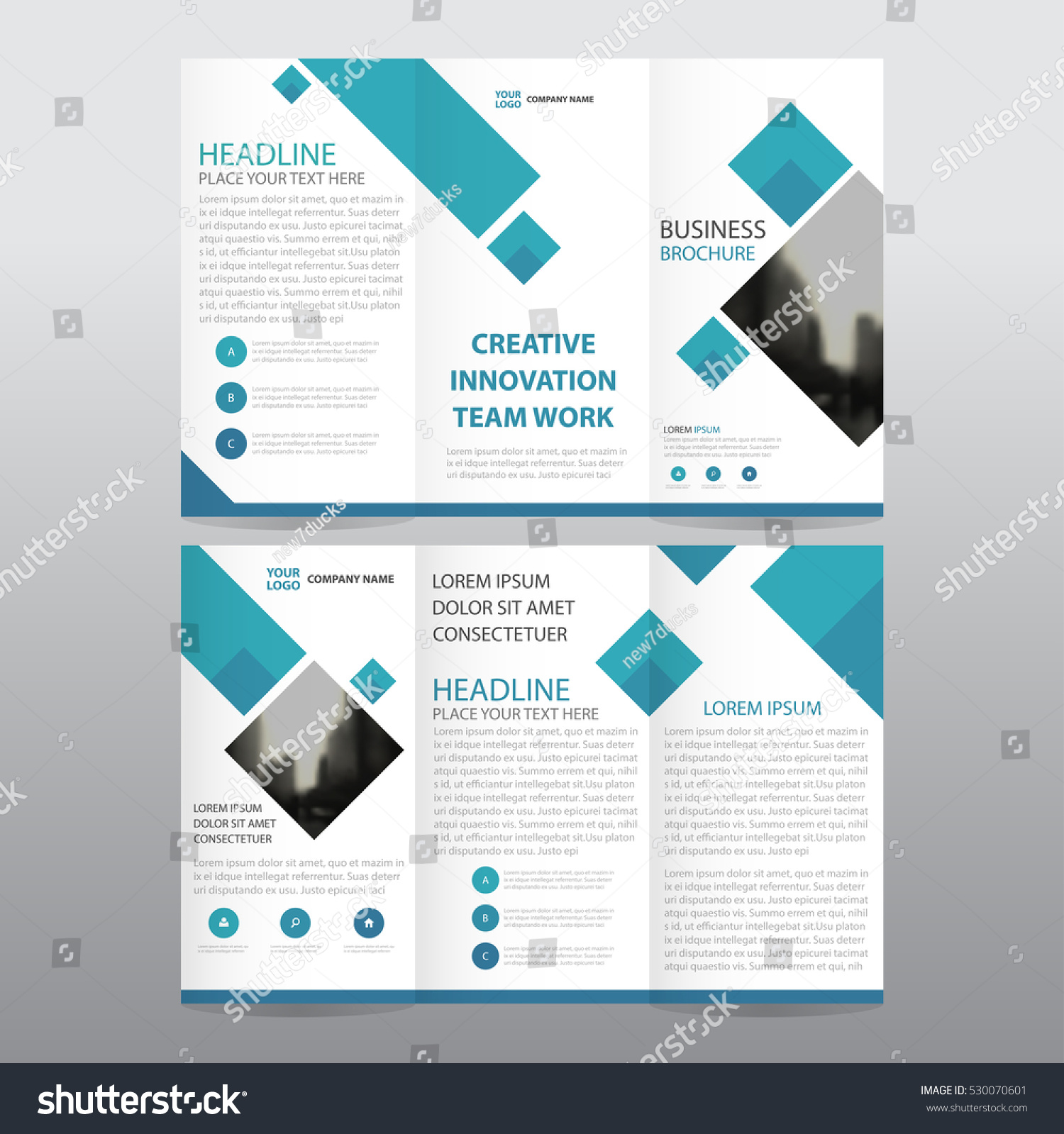 Blue square business tri fold leaflet stock vector for A4 tri fold brochure template