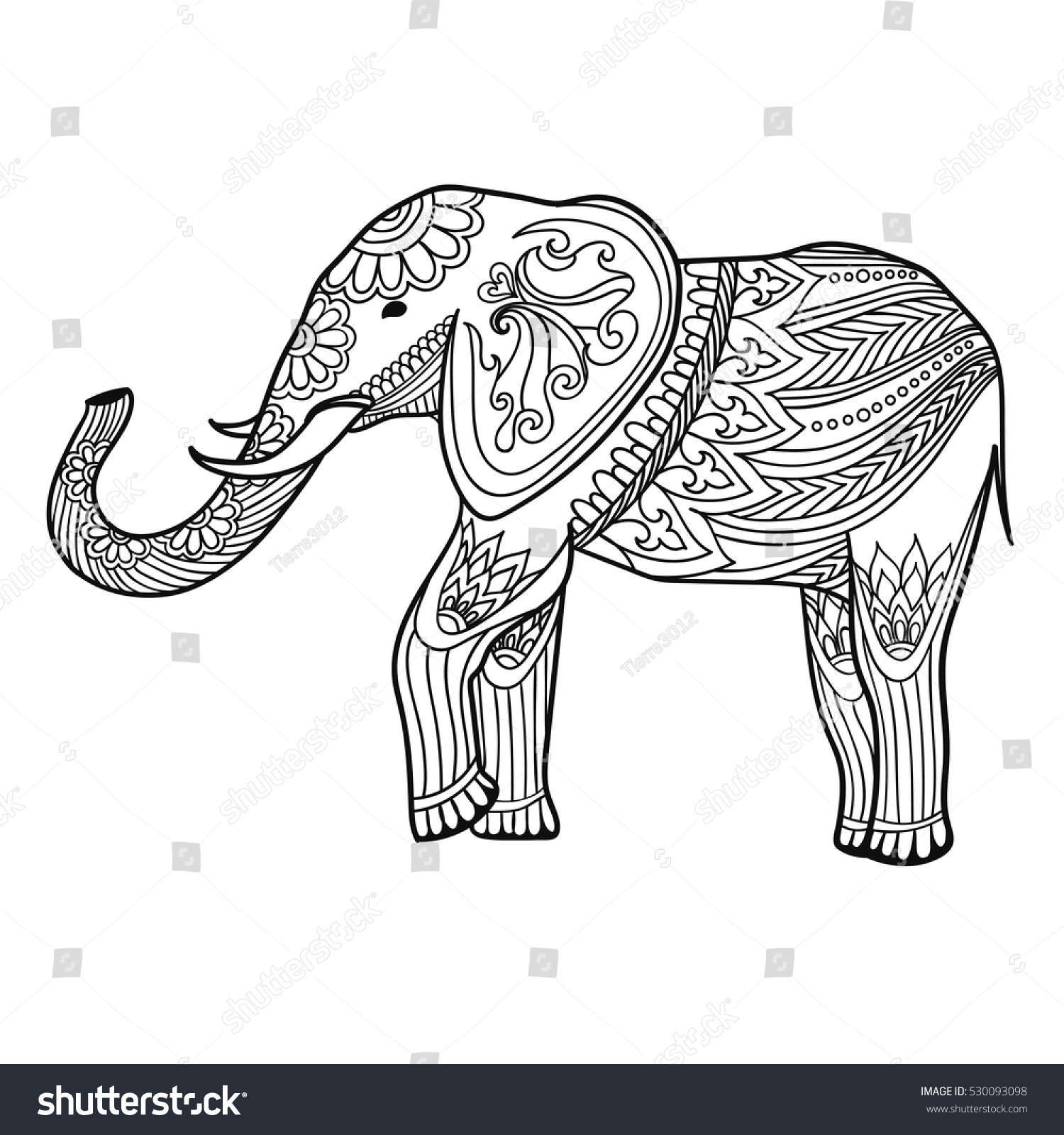 Indian Elephant Traditional Asian Style Ornate Stock Vector (Royalty ...