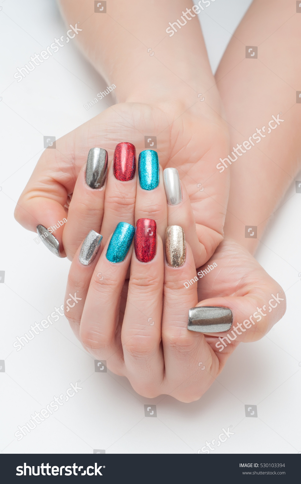 New Years Manicure On Long Square Stock Photo 530103394 - Shutterstock