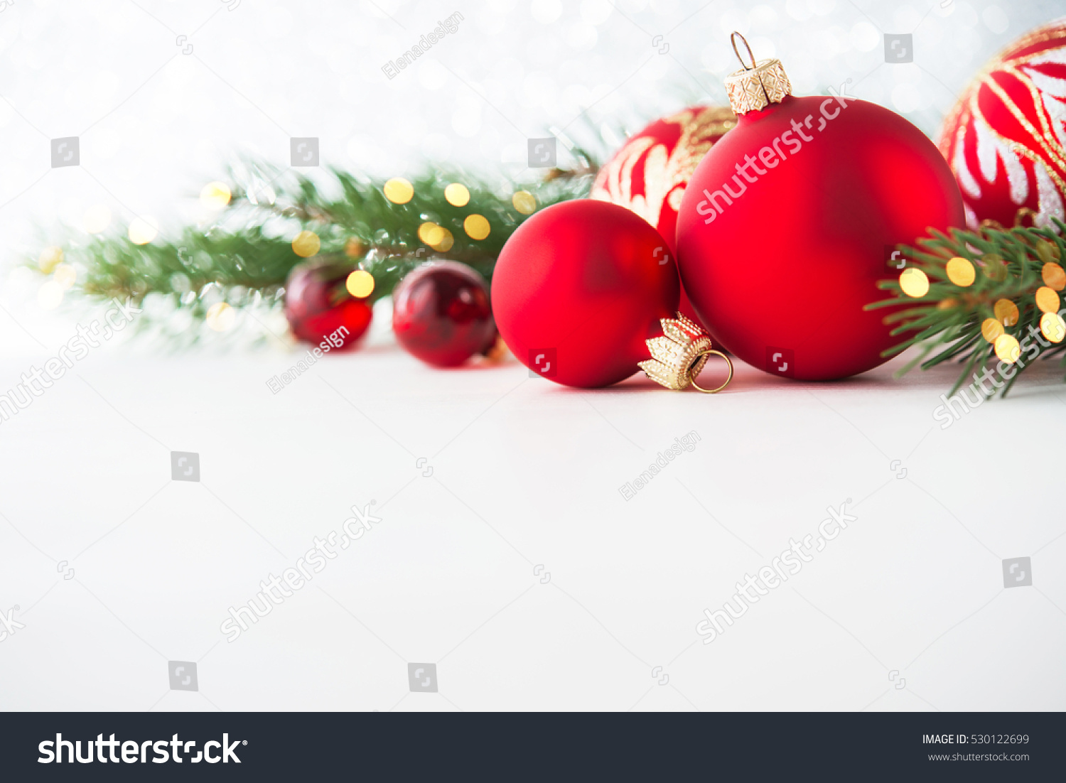 Red Christmas Ornaments On White Background Stock Photo (Edit Now ...