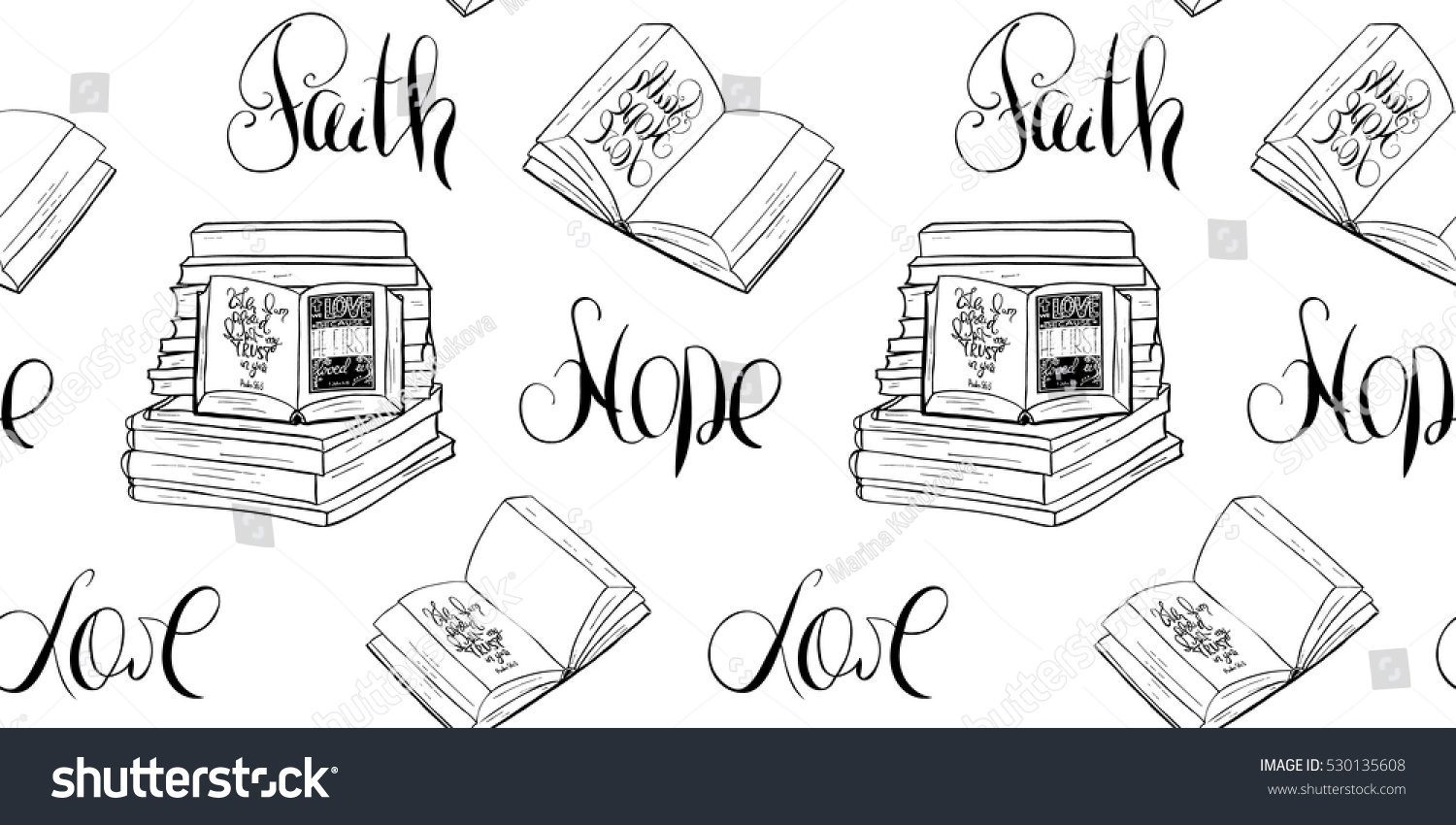 faith hope love bible lettering open book hand drawing illustration