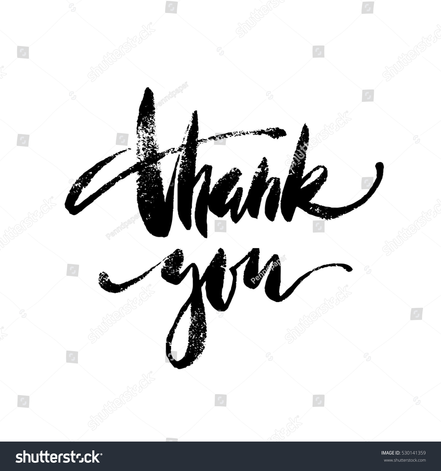 Inspirational Lettering Thank You Hand Drawn Stock Vector