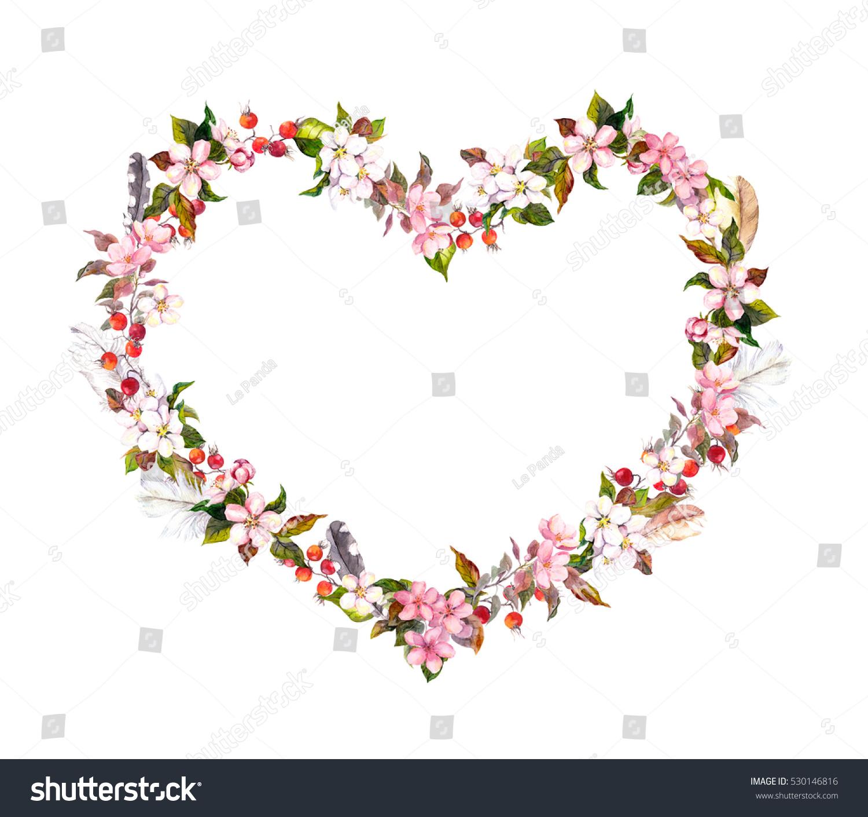 Floral Wreath Heart Shape Pink Flowers Stock Illustration