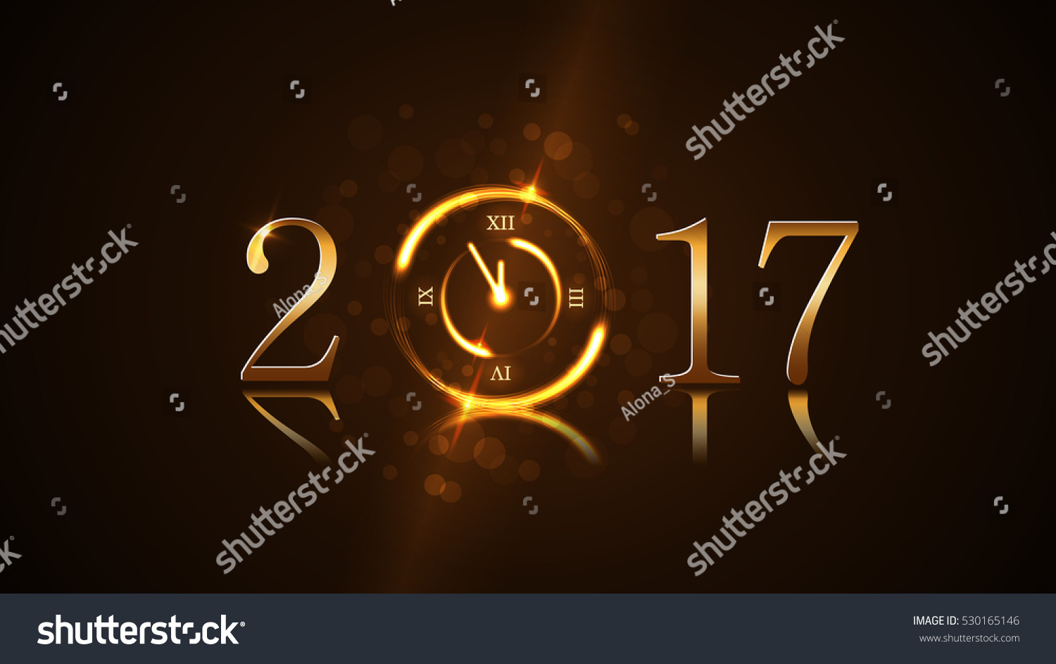 happy new year card background magic gold clock countdown golden numbers 2018 christmas and new year night glitter clock design decoration