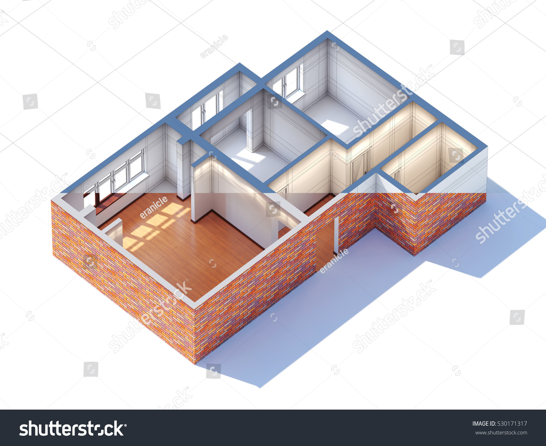 House interior design planning sketch draft 3d rendering half draft and  half ready (general aerial