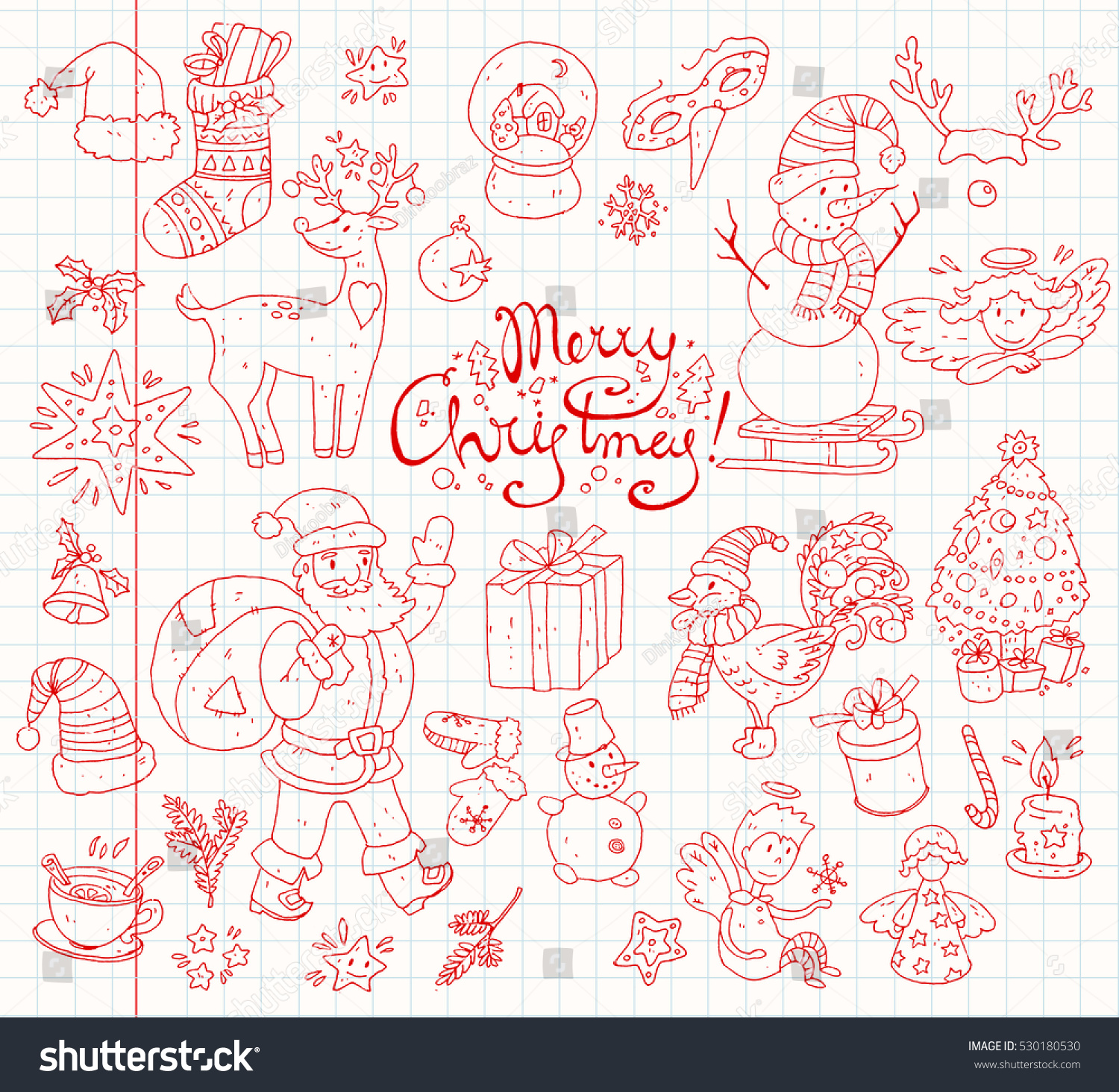 Big Vector Collection New Year Christmas Stock Vector 530180530