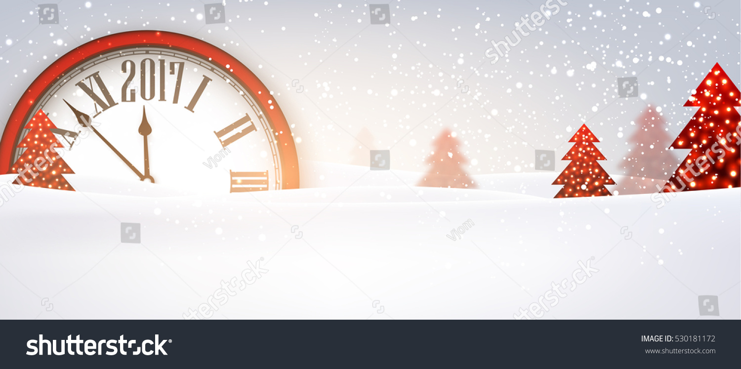 2017 new year banner with red clock vector illustration