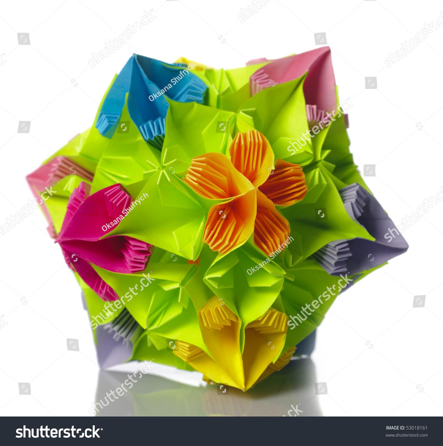 Colorfull Origami Kusudama Rainbow Flowers Isolated Stock Photo