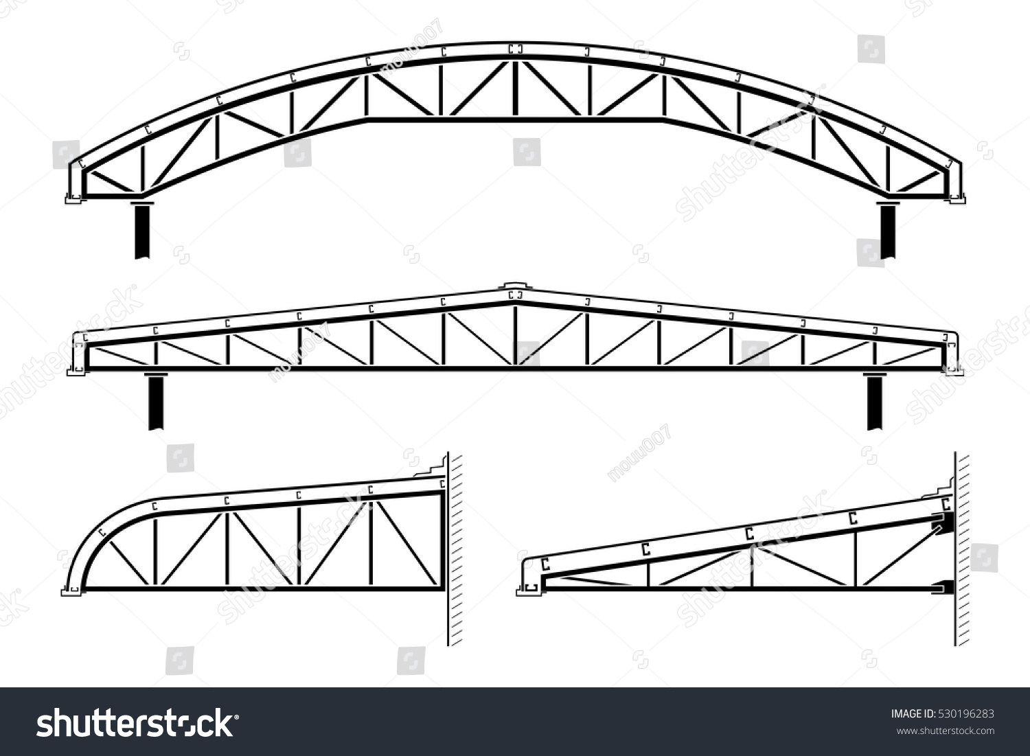 Royalty Free Roofing Building Silhouette Of Framing 530196283 Roof Truss Diagram Framingroof Collection Vector Illustration