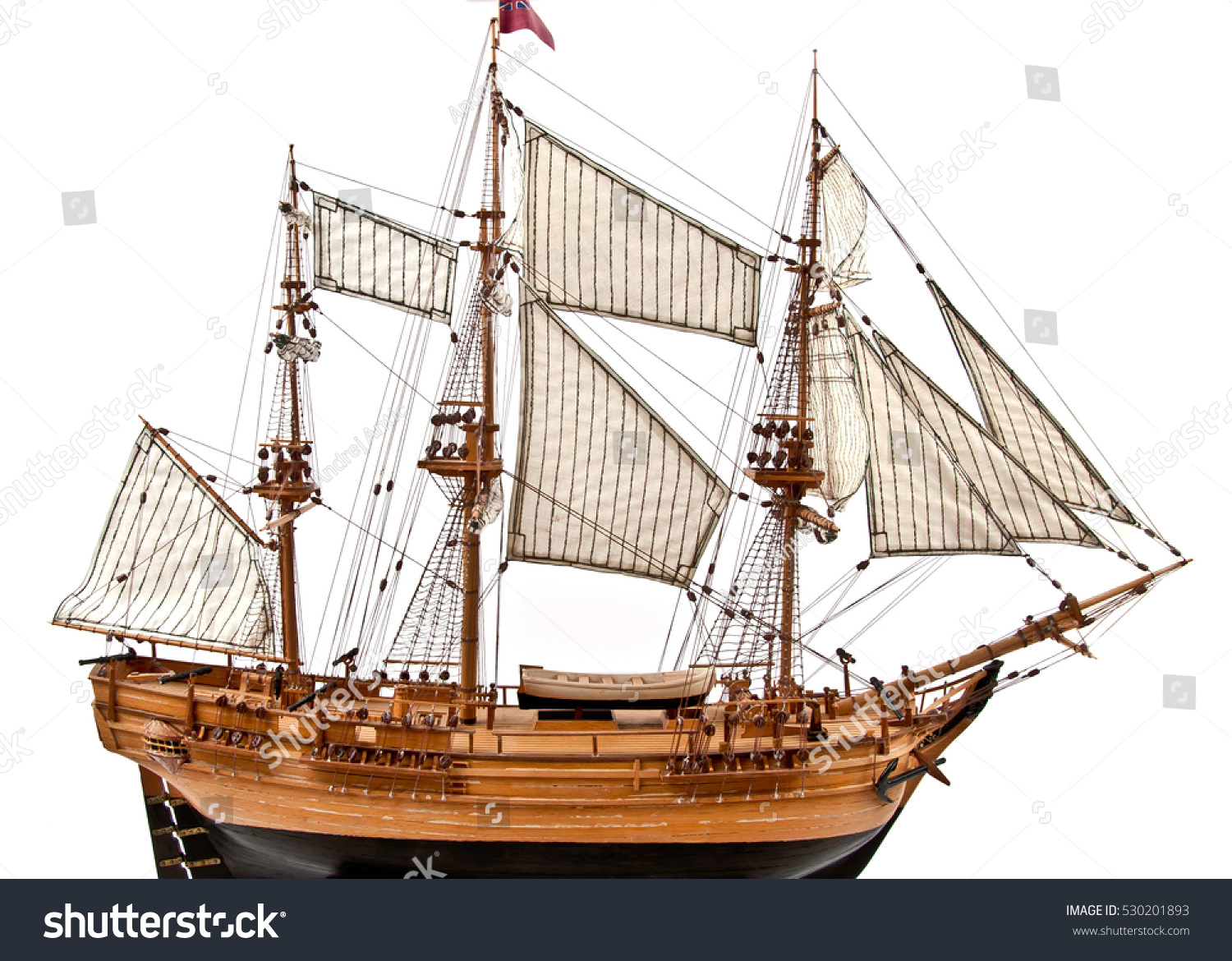 Il fascino dei velieri Stock-photo-model-of-wooden-sailing-ship-with-three-mast-isolated-on-white-530201893