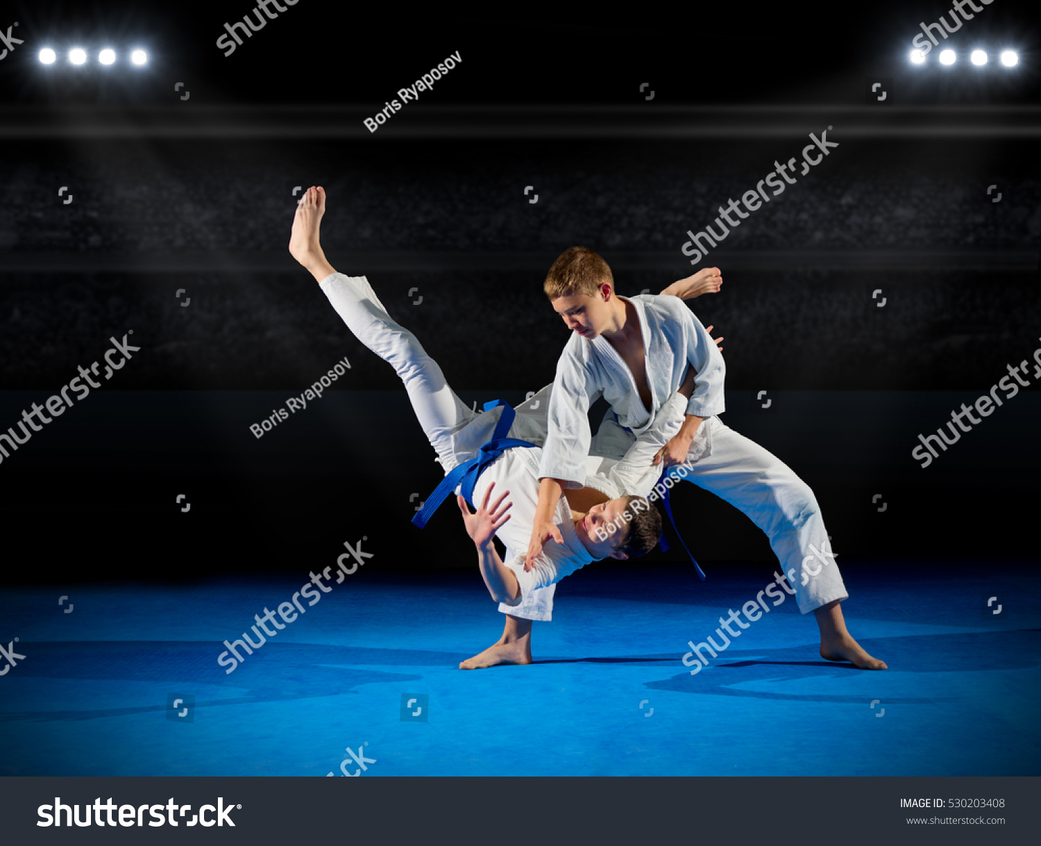 Boys martial arts fighters in sports hall #530203408