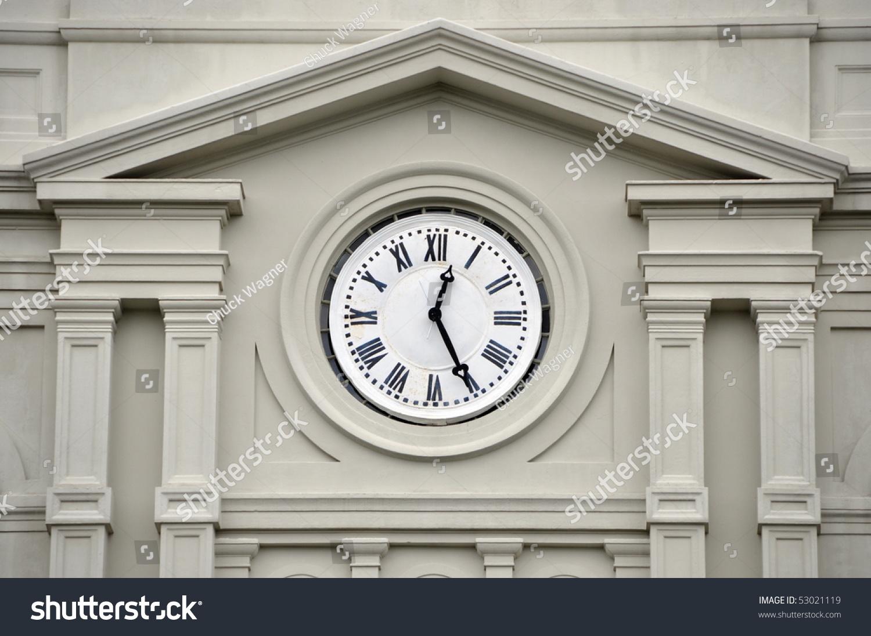 clock roman numerals on exterior building stock photo 53021119 shutterstock