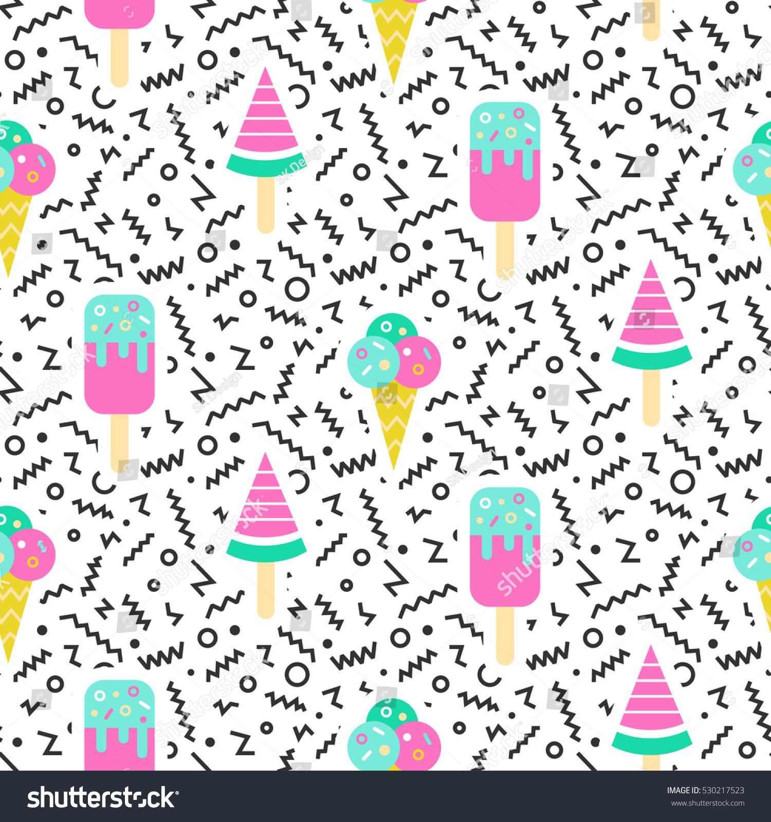 Seamless Ice Cream Background Vintage Style: Ice Cream Geometric Seamless Pattern 80s Stock Vector