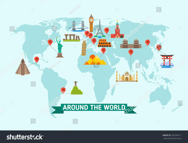 travel landmarks on world map vector illustration