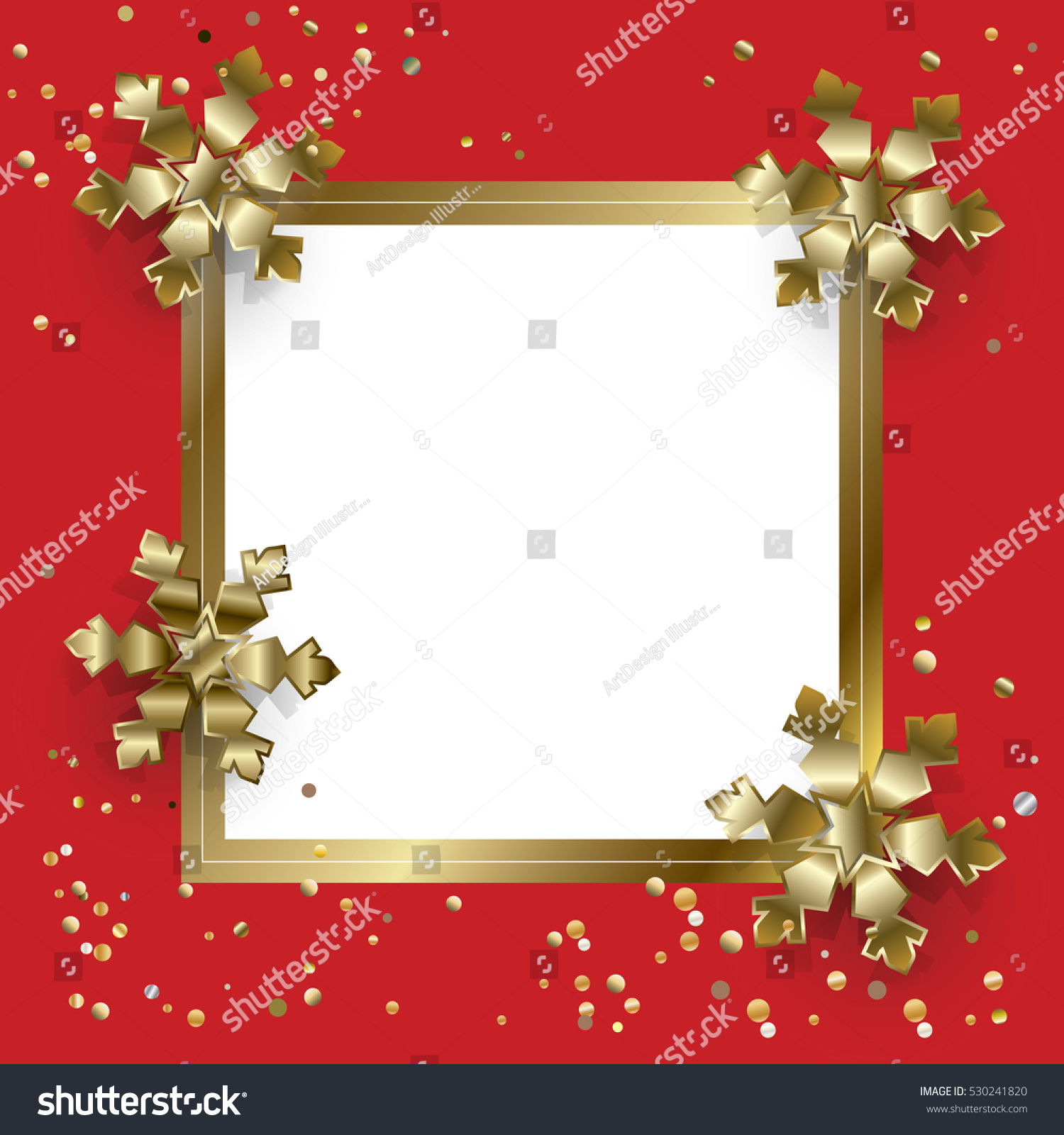 the gold glitter winter holiday border frame in shape of the - Ideal ...