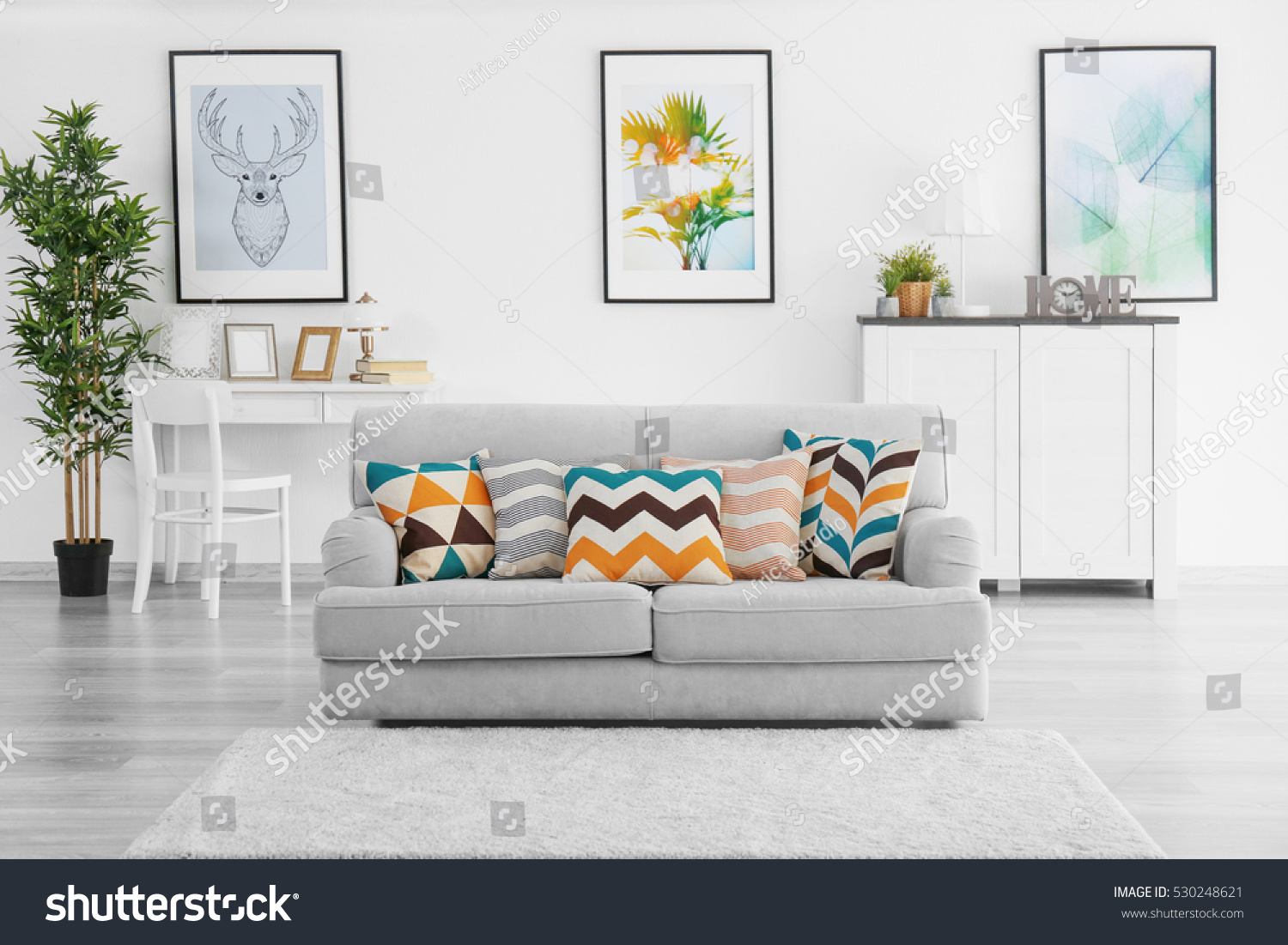 Modern Living Room Grey Couch Stock Photo (100% Legal Protection ...