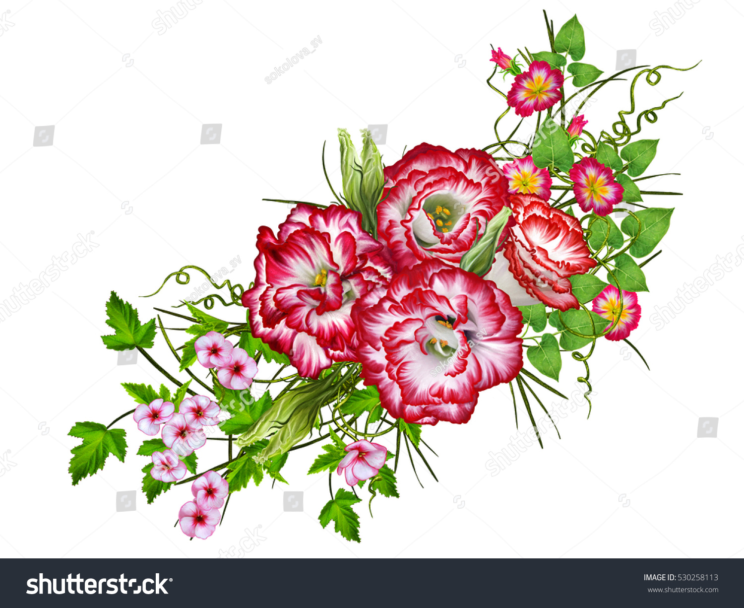 Flower Arrangement Bouquet Bright Red Eustoma Stock Illustration