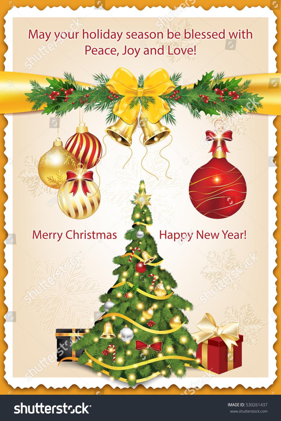 Classic Message Winter Holidays Christmas New Stock Illustration
