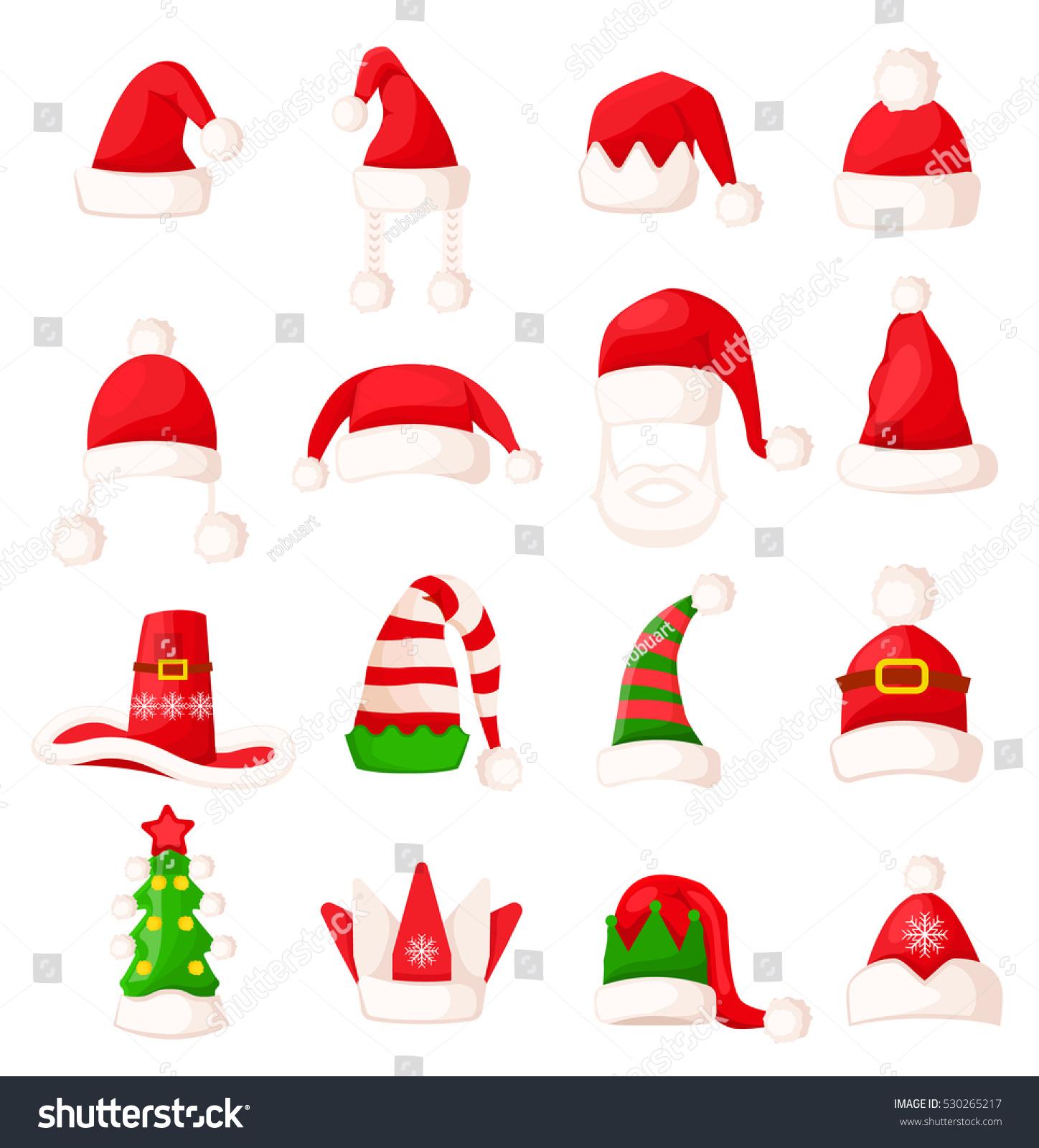 Santa Claus Hat Set Isolated Big Stock Vector 530265217 ...